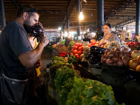 David au marché de Telavi